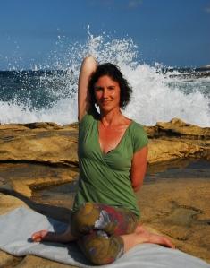 Sliema front beach, Malta: Gomukasana (cow pose).