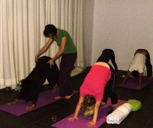 Working on Dog pose at Yoga Nieuw West