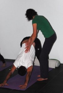 Working on the dog pose at Yoga Nieuw West